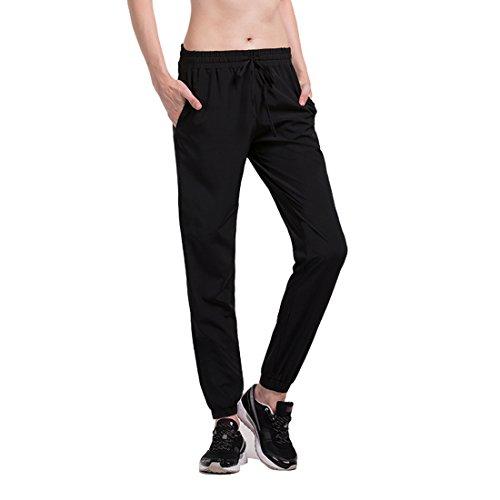 qutool da donna tempo libero Pantaloni da jogging Basic Jogger Pantaloni sportivi comperssion ad asciugatura rapida pantaloni, donna, nero, XL