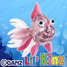 HS525- Lil' Kinz Pink Glitter Fish Webkinz New Code Sealed With Tag - 1