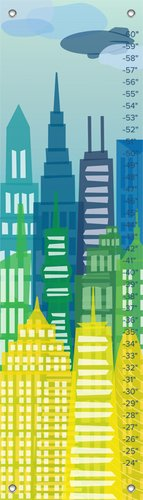 "Oopsy Daisy Growth Chart, City Skyline, 12"" x 42"""