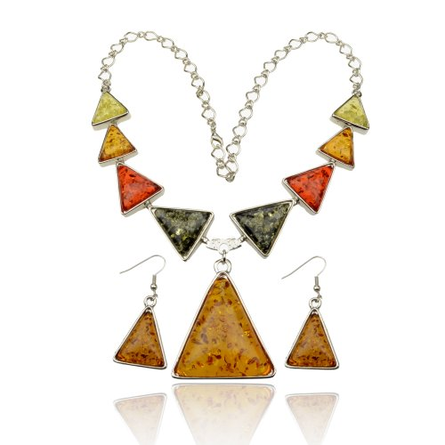 Ladies Faux Amber Lovely Vintage Silver Tone Gem Necklace Pendant Earring Sets A2163K