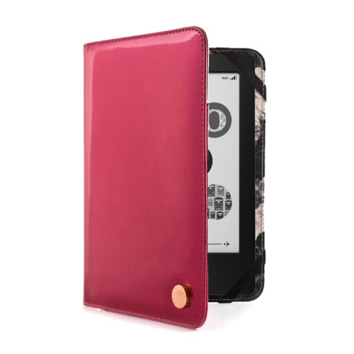 Ted Baker Leather Style Case Protective Fashion Cover for Kindle 4 - Patent White - Pink