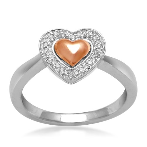 10K Rose Gold and Silver Diamond Heart Ring (0.07 cttw, I-J Color, I3 Clarity), Size 6