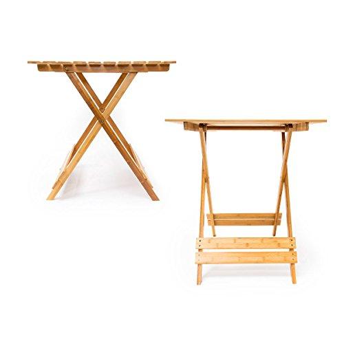 relaxdays klapptisch bambus b x h x t 76 5 x 67 x 66 cm praktischer balkontisch mit rustikaler. Black Bedroom Furniture Sets. Home Design Ideas