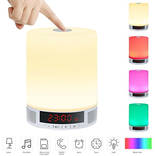 LED Bluetooth Speaker, Fuleadture All-in-1 Portable Wireless Speakers with LED Table Lamp, Alarm Clock, Hands-Free Speakerphone with Mic, Support TF Card for Smartphones and All Audio Enabled Devices