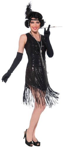 [Swinging In Sequins (Black) Adult Costume Size Standard] (Swinging 20s Costumes)