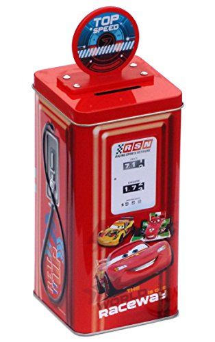 Disney Pixar Cars 2 Lightning McQueen Tin Gas Pump Bank