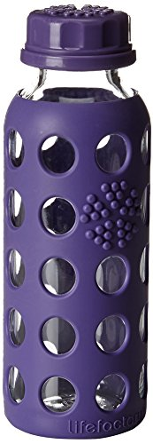 Lifefactory 9-Ounce BPA-Free Kids Glass Water Bottle with Flat Cap and Circle Patterned Silicone Sleeve, Royal Purple
