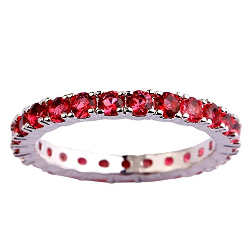 Psiroy Women's 925 Sterling Silver 0.63cttw Ruby Spinel Filled Ring