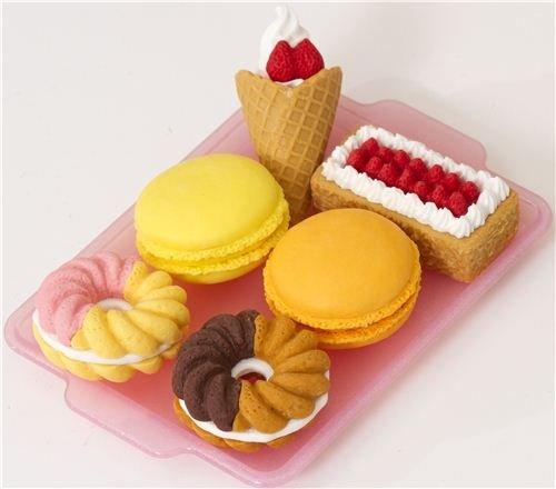 Iwako erasers 6 pieces rubber set dessert cake doughnut
