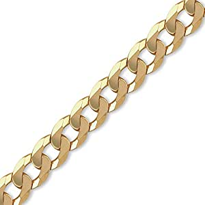 Jewelco London 9ct Solid Gold Traditional Heavyweight Curb Chain Men's Bracelet - 14mm gauge