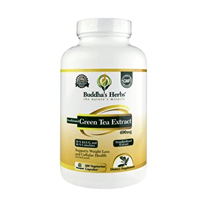 Buddha's Herbs Decaffeinated Green Tea Extract 400mg (50% EGCG), 200 Veg Caps