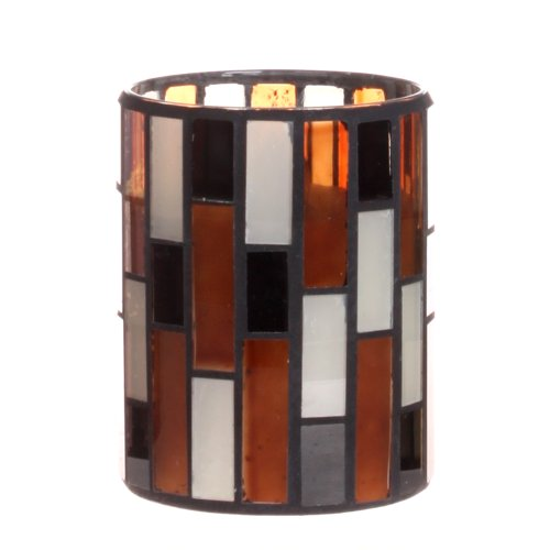 Dfl 3*4 Inch Multi Color Tiled Pattern Mosaic Glass With Flameless Led Candle With Timer,Work With 2 Aa Battery