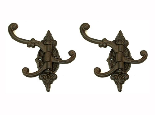 Cast Iron Vintage Antique Victorian Swing Arm Bracket Swivel Wall Hook Hall Tree Bracket with Three Hooks. Set of Two. 4.5 Inches Long By 5.75 Inches Tall By 3.5 Inches Wide (Cast Iron Swivel Wall Hook compare prices)