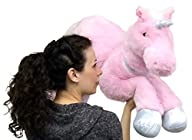 Large Stuffed Unicorn 37 Inches Wide Superior Quality Soft Big Plush Animal Pink Color