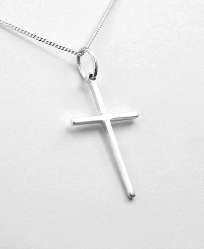 Fine Narrow Sterling Silver Cross Pendant - Christian Gifts - Confirmation Gifts