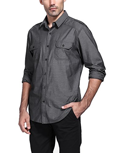 Mens Long Sleeve Button Casual Dress Shirt Twill Chambray Classic Fit