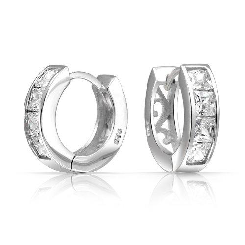 Bling Jewelry Princess Cut CZ Filigree Vines Huggie Earrings 925 Sterling Silver