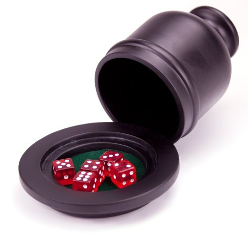 Cheapest Price! Brybelly Deluxe Wooden Dice Cup Shaker with Felt Lined Tray