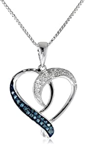 Sterling Silver and Blue and White Diamond Heart Pendant Necklace (1/5 cttw, H-I Color, I1-I2 Clarity), 18