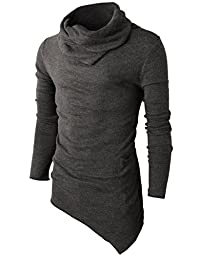 H2H Mens Casual Turtleneck Slim Fit Pullover Sweater Oblique Line Bottom Edge CHARCOAL US S/Asia M (KMTTL046)