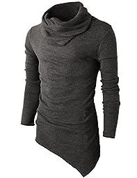 H2H Mens Casual Turtleneck Slim Fit Pullover Sweater Oblique Line Bottom Edge CHARCOAL US XL/Asia XXL (KMTTL046)