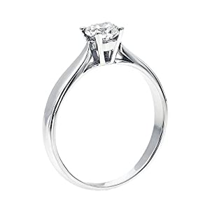 IGI Certified 14k white-gold Round Cut Diamond Engagement Ring (0.55 cttw, G Color, SI1 Clarity)
