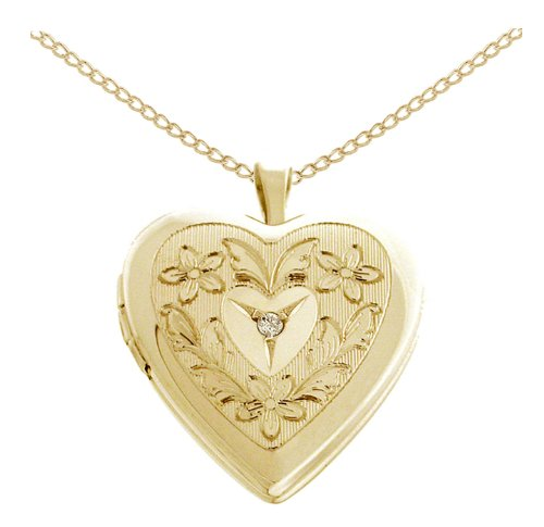 Gold Plated Silver Diamond Accent Flowers and Leaves Heart Locket Pendant Necklace, 18
