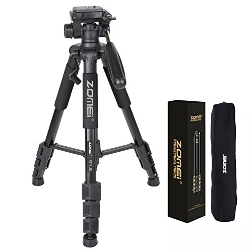 ZOMEI Q111 55-Inch Professional Aluminium Camera Tripod Camcorder Stand with PanHead Plate for DSLR Canon Nikon Sony DV Video (Black) (Nikon Camera Stand compare prices)