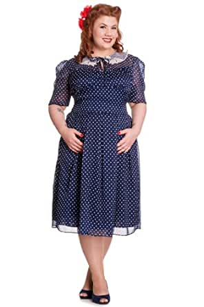 Hell Bunny CYNTHIA Chiffon POLKA DOTS 50s DRESS / Kleid - Blue PLUS SIZE