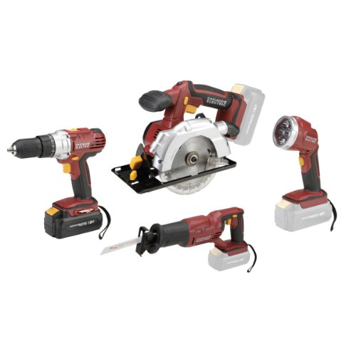 18 Volt Cordless 4 Tool Combo Pack: Drill/Driver, Circular Saw With Laser Guide, Reciprocating Saw, Super Bright Led Work Light With 9-Led Pivoting Head - New Design!
