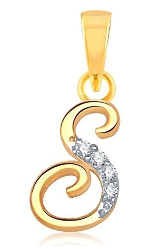 "YouBella American Diamond Gold and Rhodium plated Jewellery Pendant – Letter ""S"" : Best Rakhi Gift Jewellery"