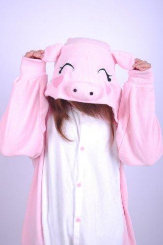 Adult Unisex Animal Lovely Pink Pig Pajamas Sleepsuit Sleepwear (Size Xl) front-849135