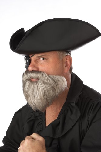 California Costumes The Captain Beard And Moustache, Grey, One Size Costume Accessory