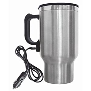 Brentwood Electric Coffee or Tea Mug with Car Wire Plug, Stainless Steel