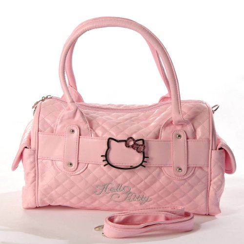 Hello-Kitty-Quilted-Faux-Leather-Shopping-Bag-Handbag-Tote-Purse-Baby-Pink