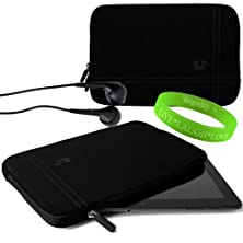 buy Sumaclife Accessories Onyx With Jet Black Trim Drumm Neoprene Sleeve For Netbook Navigator Nav10I Tablet Device + Black Netbook Navigator Nav10I Compatible Ear Buds + Vangoddy Live+Laugh+Love Wristband