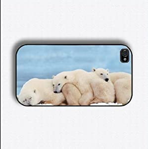 polar bear 4 iphone case for 4 and 4s plastic black color