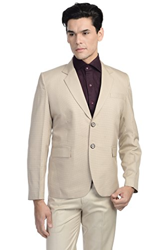 Wintage Men's Linen Blend Two Buttoned Notch Lapel Festive and Casual Blazer-Beige