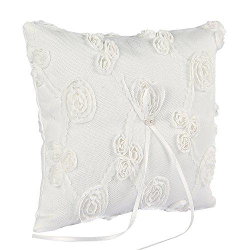 Valdler Elegant Lace Ring Bearer Pillow for Wedding Party Prom (White)