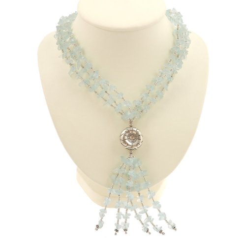 EXP Handmade Blue Aquamarine Lariat Necklace With Antiqued Silver Accent Bead