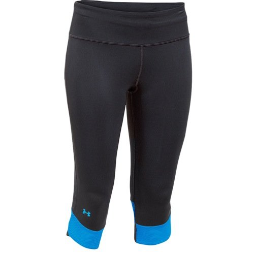 Under Armour Womens Fly-By Compression Capri Black/Jazz Blue/Reflective Pants XS (US 0-2) X 17