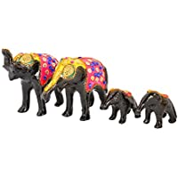 Rajkruti Earthenware Handicraft Elephant Family 4 Piece Set Show Piece For Home Decor (Set Of 4, Black)