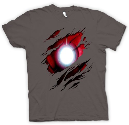 Herren T-Shirt Iron Man - Marvel Comics - Kostüm - Effekt - Anthrazit - XXL