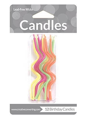 Creative Converting 12 Count Crazy Curl Birthday Cake Candles, Brights, Assorted - 1