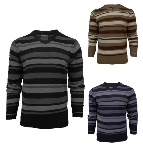 Mens Kensington 1A1084 Knitted Striped Jumper Sweater (XL = 46