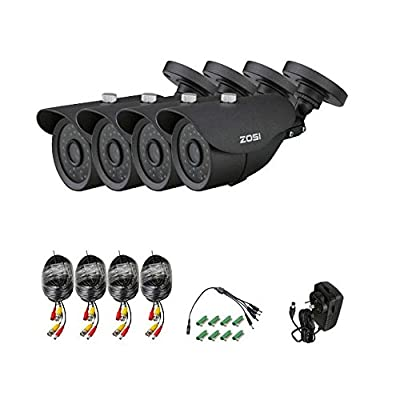 "ZOSI 4 Pack 1/3"" 800TVL 960H High Resolution Security Surveillance CCTV Camera Kit 42 Led Had IR Cut Outdoor Weatherproof 120ft"