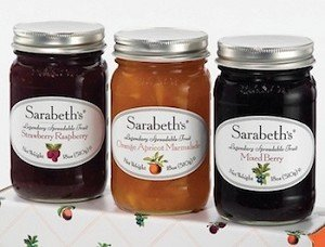 3 jars of legendary spreadable fruit: OM, SR,