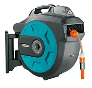 gardena wall mounted hose reel box with automatic roll up 15m 25m 35m 35m co uk