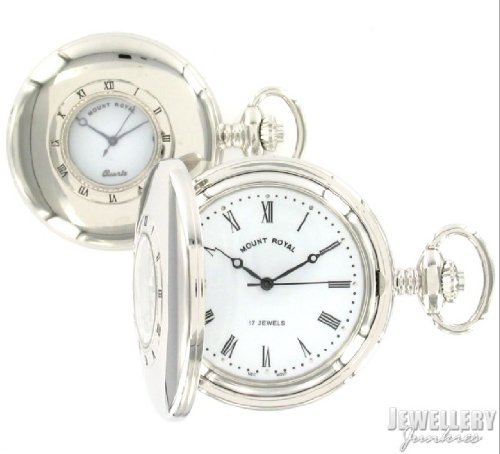 Chrome Plated Half Hunter Mechanical Pocket Watch B9m