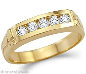 solid 14k yellow gold mens nugget wedding band